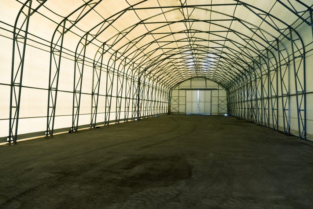 Empty tent warehouse